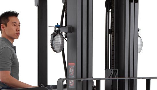Raymond stand up forklift truck with optional work lights